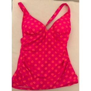 Arizona Jean Co.Tankini PolkaDot Top Pink Orange